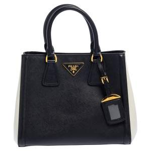 Prada Black/White Saffiano Lux Leather Tote