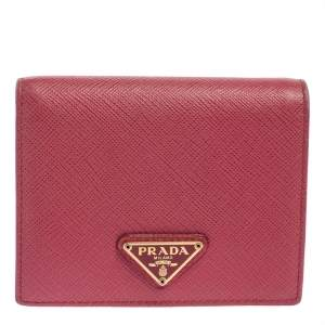 Prada Pink Saffiano Lux Leather Small Compact Wallet
