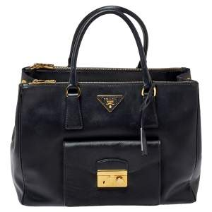 Prada Black Saffiano Patent Leather Front Pocket Double Zip Lux Tote