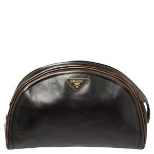 Prada Ombre Black Vitello Vintage Leather Large Dome Clutch