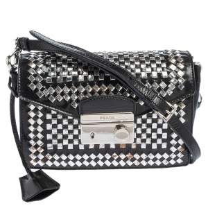 Prada Black/Silver Woven Leather Sound Crossbody Bag