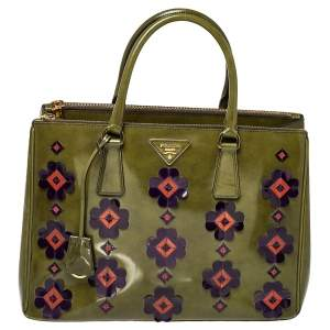 Prada Green Floral Applique Patent Leather Medium Double Zip Tote