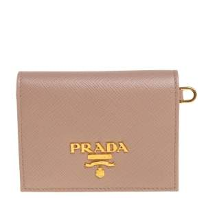 Prada Beige Saffiano Leather Badge ID Card Holder