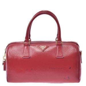 Prada Red Canvas Duffel Bag
