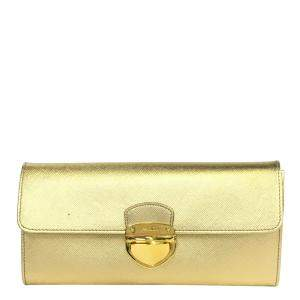 Prada Gold Leather Clutch
