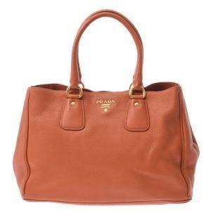 Prada Orange Leather Tote