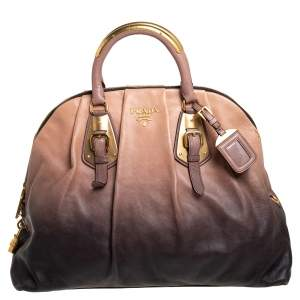 Prada Ombre Beige/Black Leather Dome Satchel