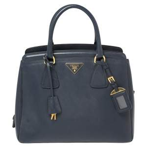 Prada Navy Blue Saffiano Lux Leather Parabole Tote