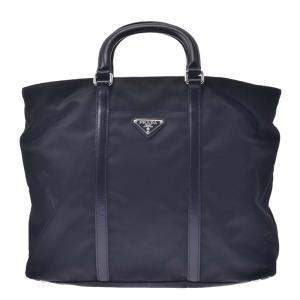 Prada Black Leather, Nylon Tote