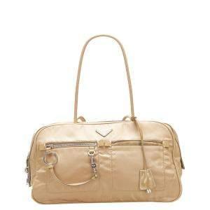 Prada Brown Nylon Tessuto Shoulder Bag