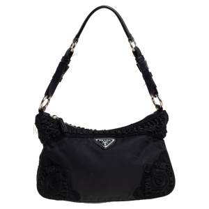 Prada Black Tessuto Nylon Embroidered Shoulder Baguette