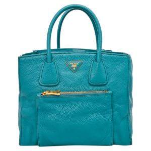 Prada Blue Calfskin Leather Glace Pocket Tote Bag