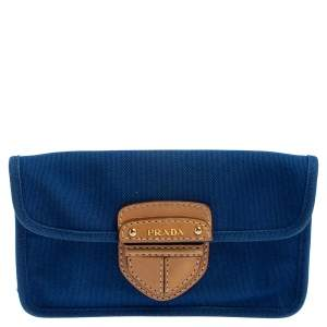 Prada Blue Canvas and Leather Flap Clutch