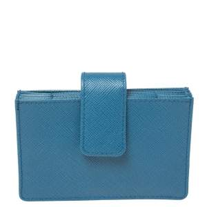 Prada Blue Saffiano Oro Leather Accordion Card Holder