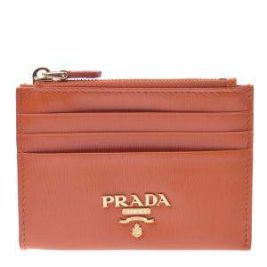 Prada Orange Leather Wallet