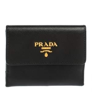Prada Black Saffiano Leather Coin Compact Wallet