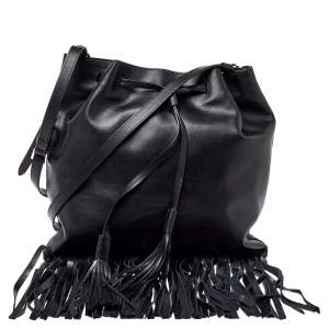 Prada Black Soft Leather Fringed Drawstring Shoulder Bag