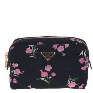 Prada Black Canvas Pouch Clutch