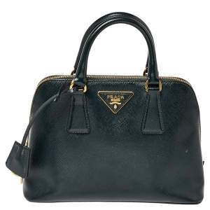 Prada Dark Green Saffiano Leather Small Promenade Satchel