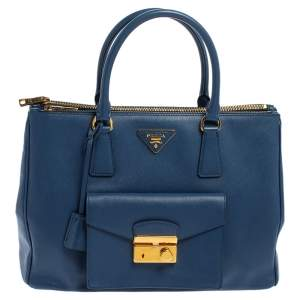 Prada Blue Saffiano Leather Front Pocket Double Zip Lux Tote