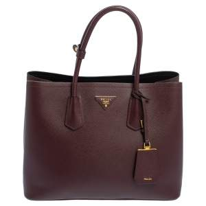 Prada Maroon Saffiano Cuir Leather Medium Double Handle Tote