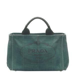 Prada Green Canvas Canapa Tote Bag