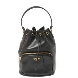 Prada Black Leather Duet Bucket Shoulder Bag