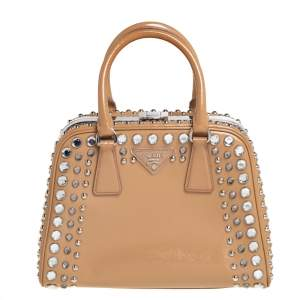 Prada Beige Saffiano Leather Crystal Embellished Pyramid Frame Satchel