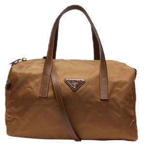 Prada Beige/Brown Nylon Boston Bag