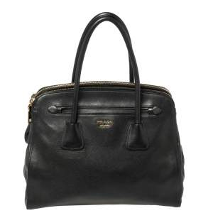 Prada Black Saffiano Cuir Leather Large Dome Satchel