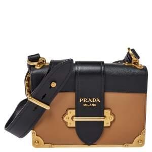 Prada Beige/Black Leather Cahier Flap Shoulder Bag