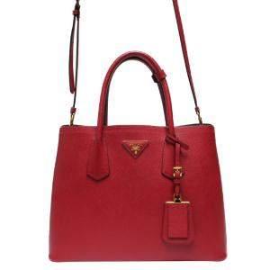 Prada Red Leather Twin Tote