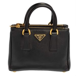 Prada Black Saffiano Leather Mini Double Zip Crossbody Bag