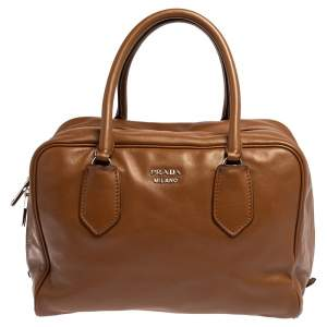 Prada Brown/Turquoise Soft Leather Medium Inside Bag