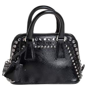 Prada Black Saffiano Patent Leather Stone Trim Promenade Bag