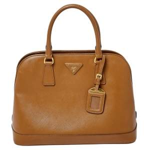 Prada Brown Saffiano Lux Leather Dome Satchel