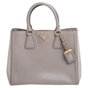 Prada Beige/Grey Saffiano Lux Leather Gardener Tote
