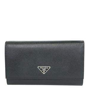 Prada Black Saffiano Leather Long Wallet