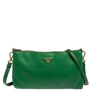 Prada Green Vitello Daino Leather Crossbody Bag