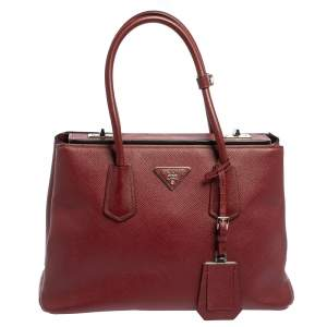 Prada Dark Red Saffiano Cuir Leather Twin Tote