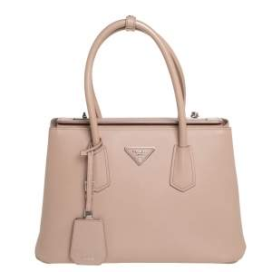 Prada Old Rose Saffiano Cuir Leather Twin Tote