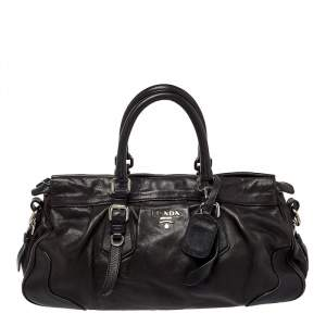Prada Dark Brown Pleated Leather Satchel