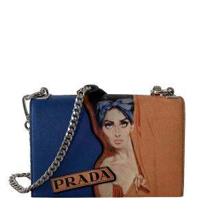 Prada Blue/Multicolor Saffiano Leather Print Frame Shoulder Bag