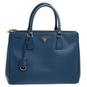 Prada Blue Saffiano Lux Leather Medium Galleria Double Zip Tote
