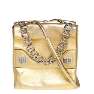 Prada Gold Leather Double Flap Turn Lock Shoulder Bag