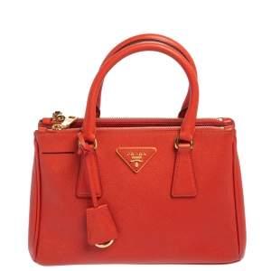 حقيبة يد برادا فلام سحاب مزدوج صغيرة جلد لوكس سافيانو
