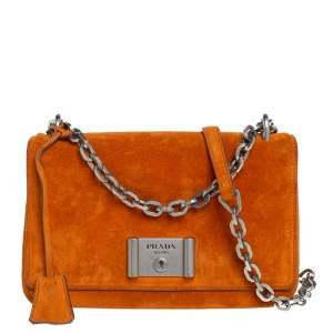 Prada Orange Suede Lock Flap Chain Shoulder Bag