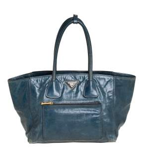 Prada Dark Green Glazed Leather Front Pocket Wing Tote