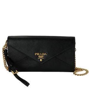 Prada Black Saffiano Leather Envelope Chain Wallet Bag