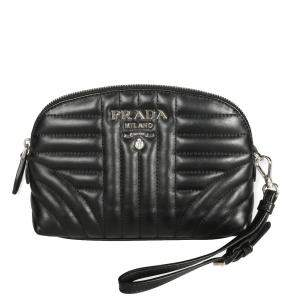 Prada Black Leather Diagramme Wristlet Bag